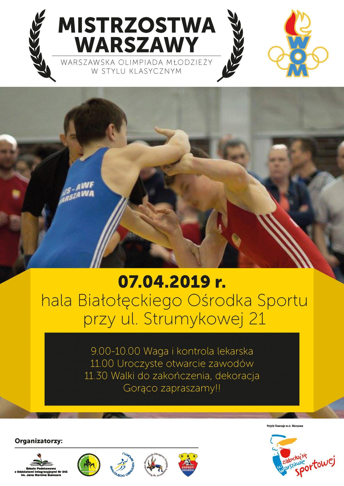 Warszawska Olimpiada Młodzieży w stylu klasycznym!! Serdecznie zapraszamy!!!